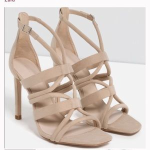 Zara suede nude strappy ankle heel